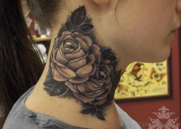 Wonderful Roses Tattoo On Neck