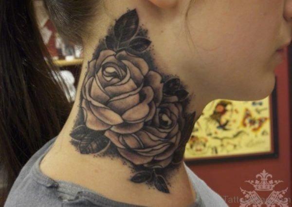 Wonderful Roses Tattoo On Neck