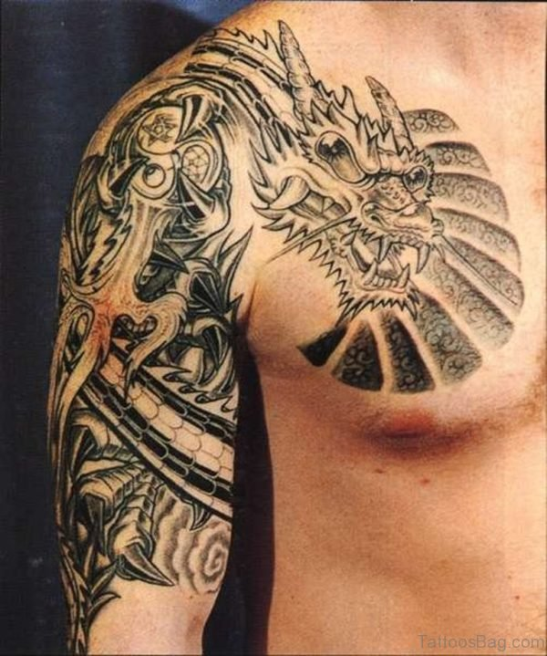 Wonderful Shoulder Dragon Tattoo Design