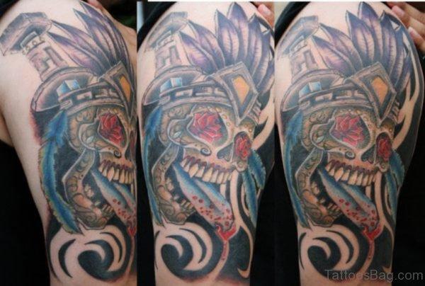 Wonderful Skull Aztec Tattoo
