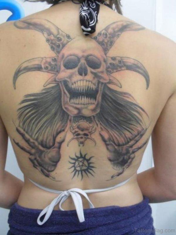 Wonderful Skull Tattoo On Back
