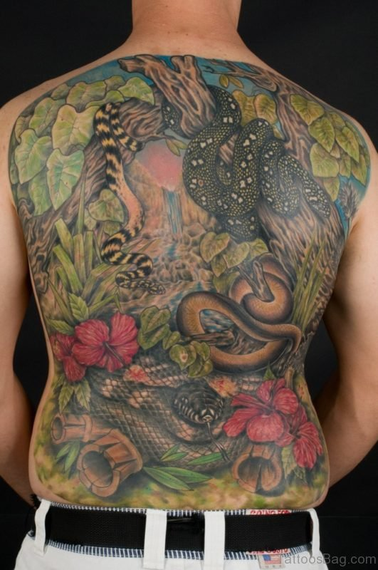 Wonderful Snakes And Flower Tattoo