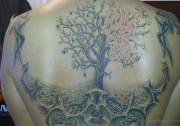 Wonderful Tree Tattoo On Back