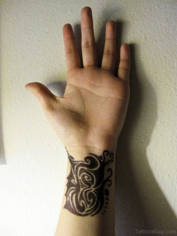 Wonderful Tribal Tattoo On Wrist