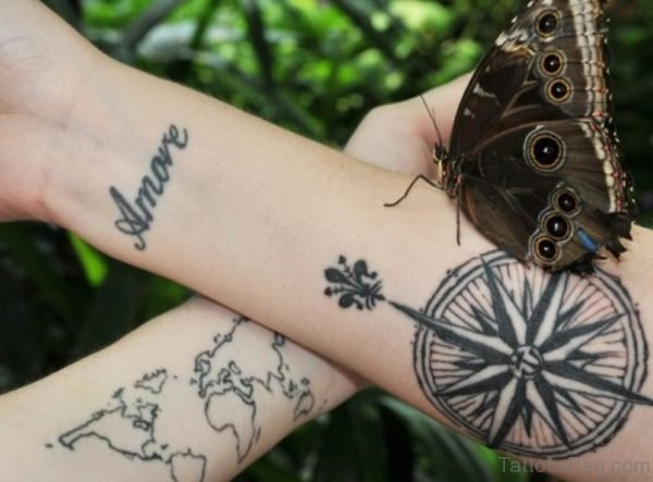 Word And Compass Tattoo