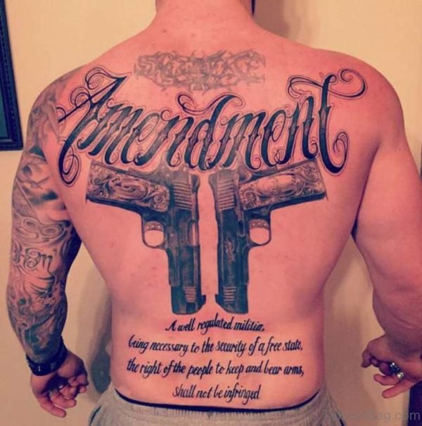 Word And Gun Tattoo
