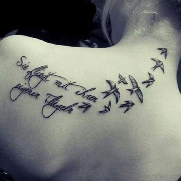 Wording And  Bird Tattoo