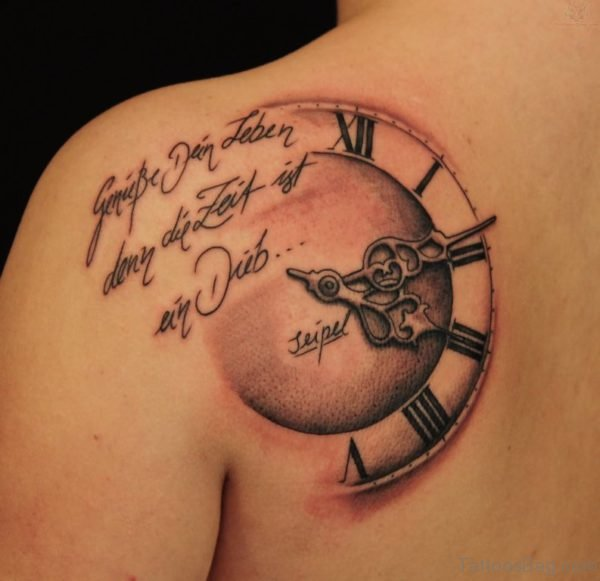 Wording And Clock Tattoo