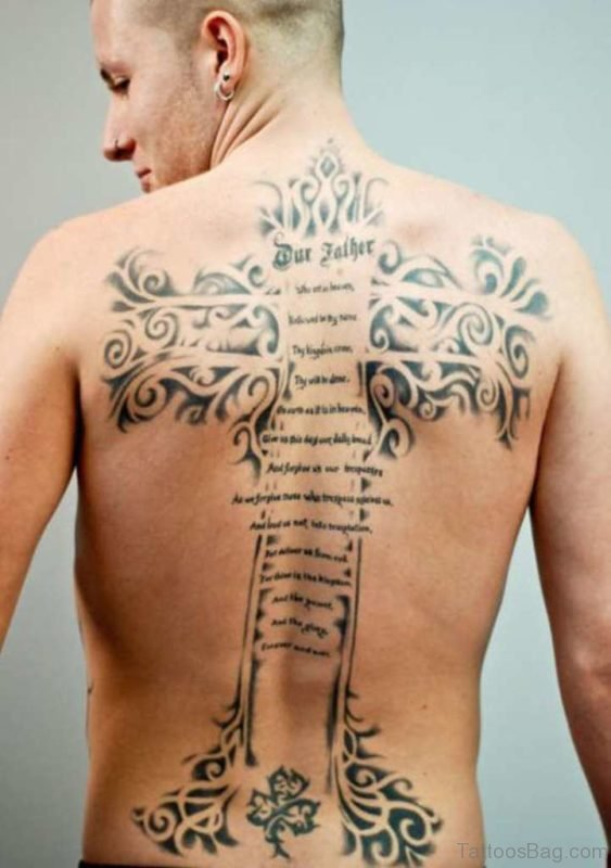 Wording And Cross Tattoo On Back