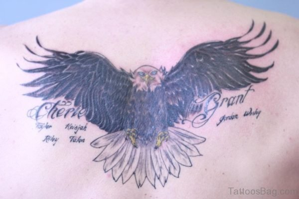 Wording And Eagle Tattoo