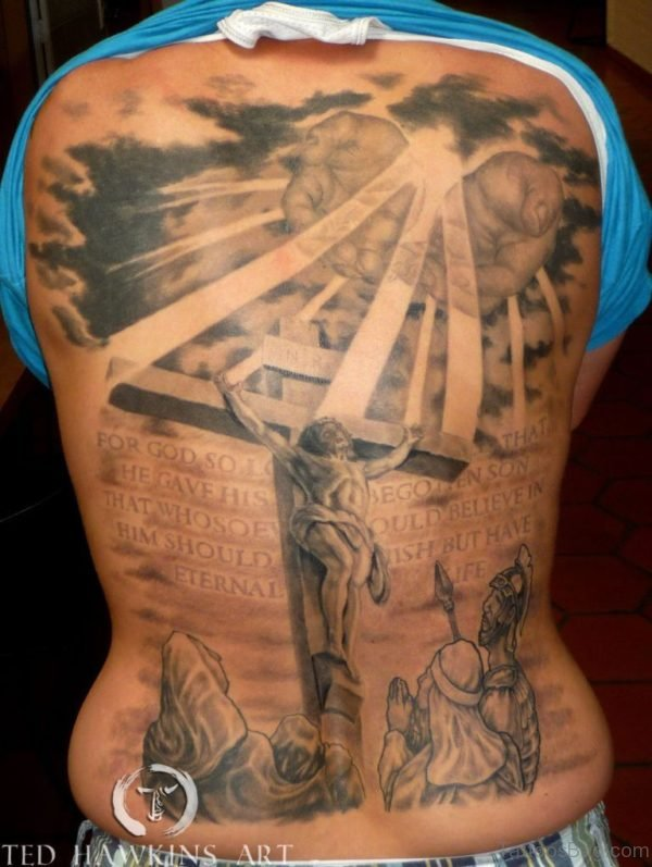 Wording And Jesus Tattoo On Full Back
