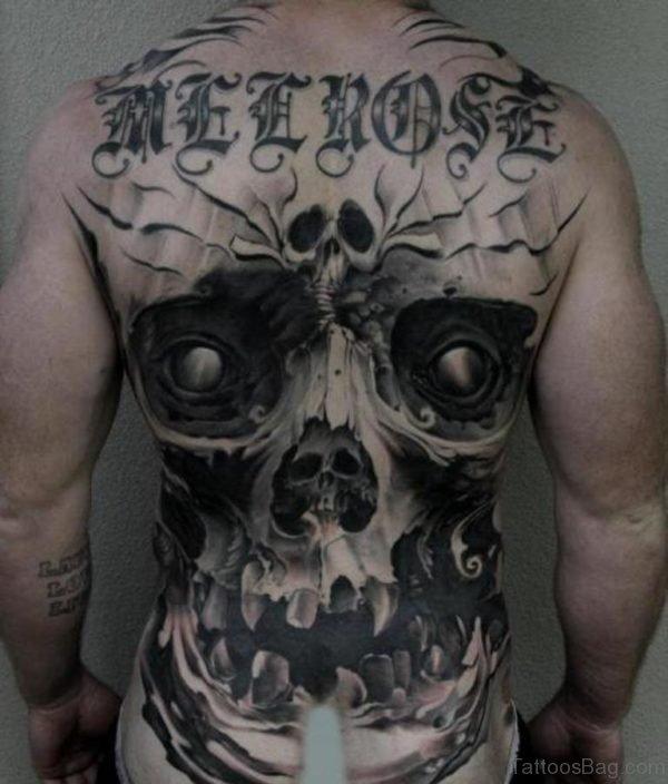 Wording And Skull Tattoo On Full Back