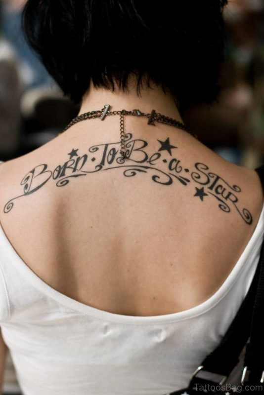 Wording And Stars Tattoo On Back