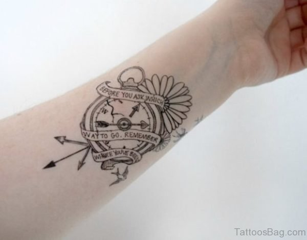 Wording And Compass Tattoo