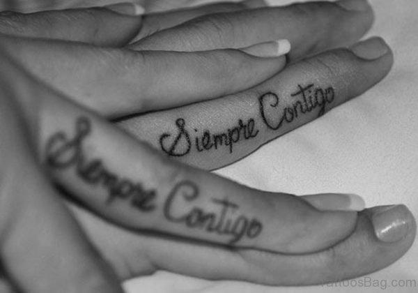 Wording Tattoo On Finger