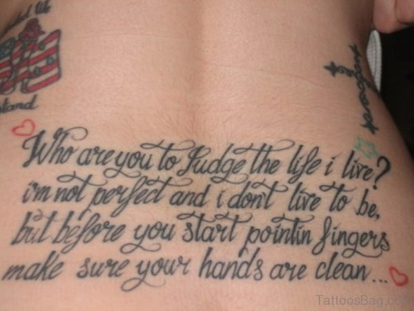 Wording Tattoo On Lower Back