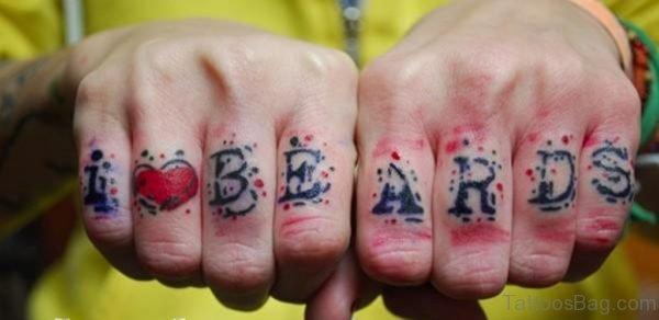 Wording Tattoo On knuckle