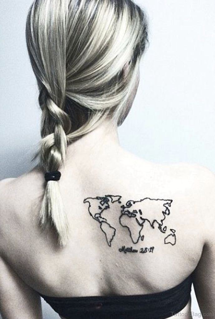 64 nice map tattoos for back world map tattoo on back gumiabroncs Choice Image