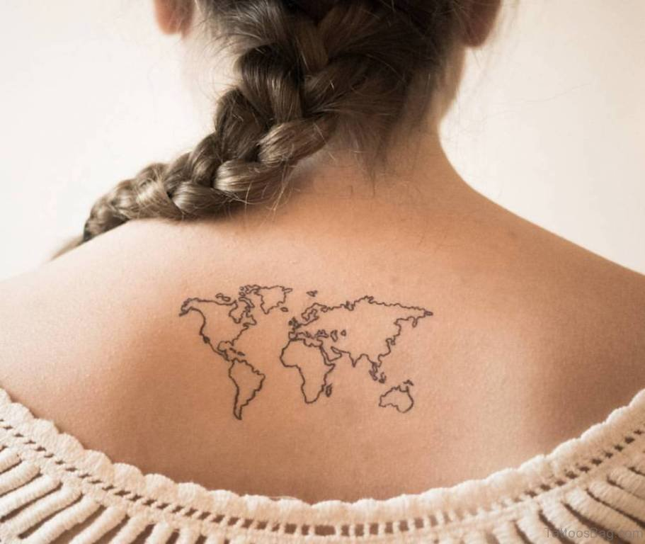 64 nice map tattoos for back world map tattoo on upper back gumiabroncs Gallery