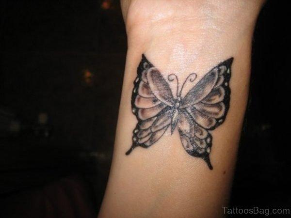 Wrist Black Butterfly Tattoo
