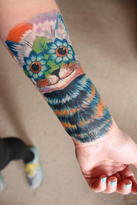 Wrist Cover Cat Tattoo On Wrist