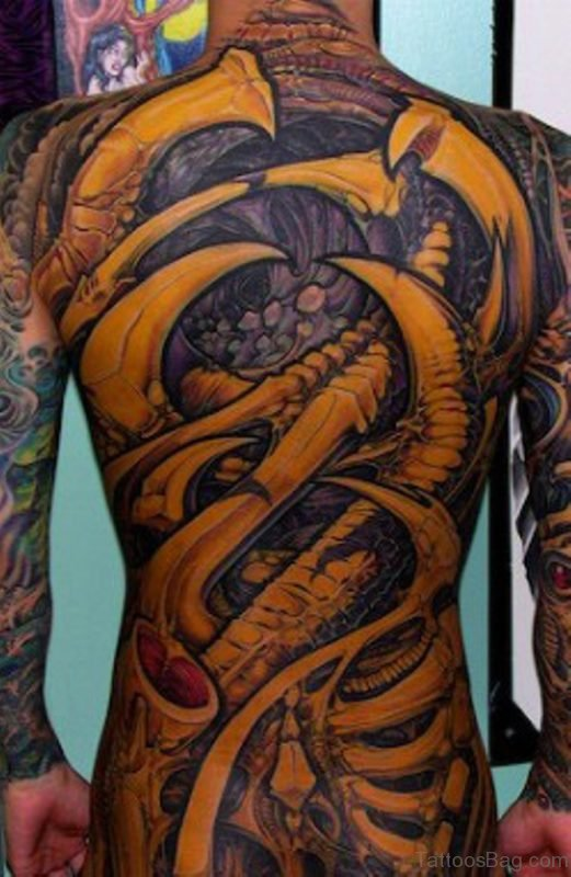 Yellow  Biomechanical Tattoo