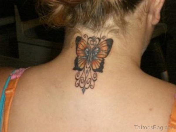 Yellow Butterfly Tattoo On Neck Back