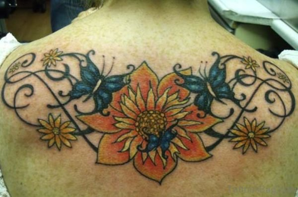 Yellow Flower Tattoo On Back