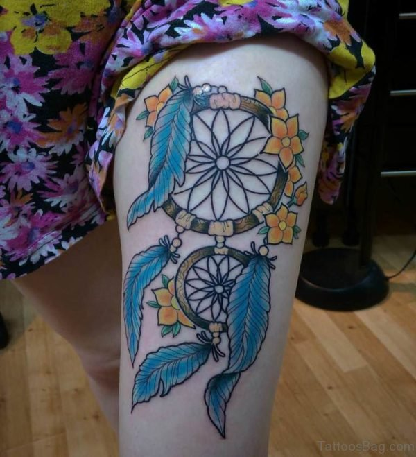 Yellow Flowers And Dreamcatcher Tattoo