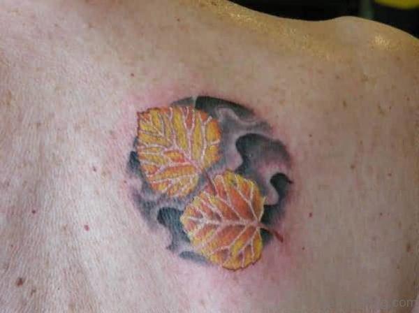 Yellow Leaf Tattoo On Back