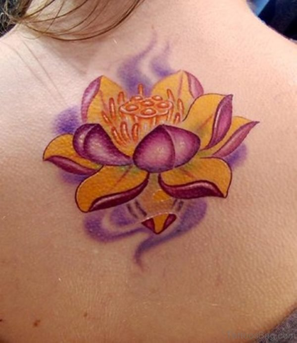 Yellow Lotus Flower Tattoo