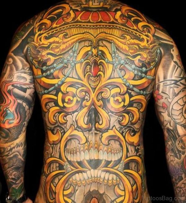 Yellow Skull Tattoo On Full Back