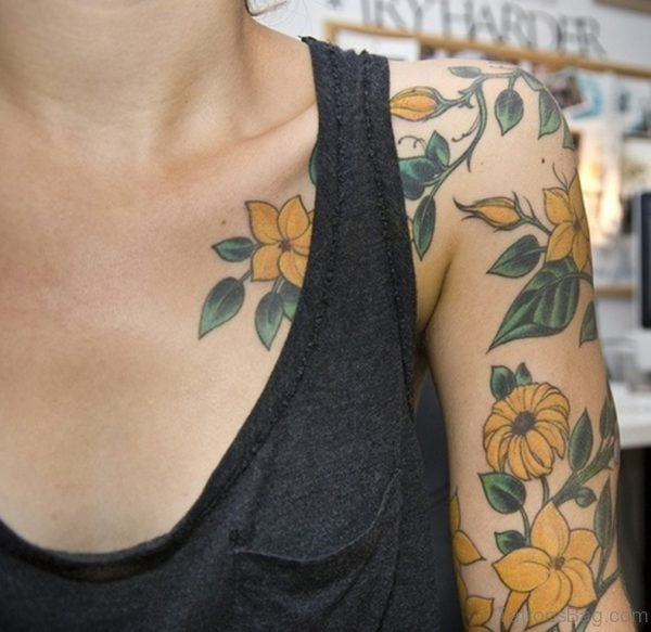 Yellow Vintage Flower Shoulder Tattoo