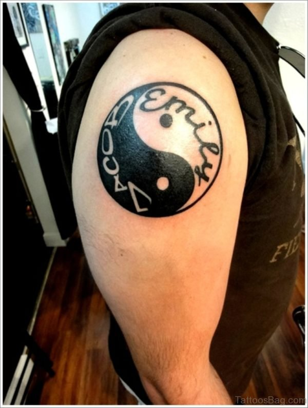 Yin Yang Tattoo On Right Shoulder