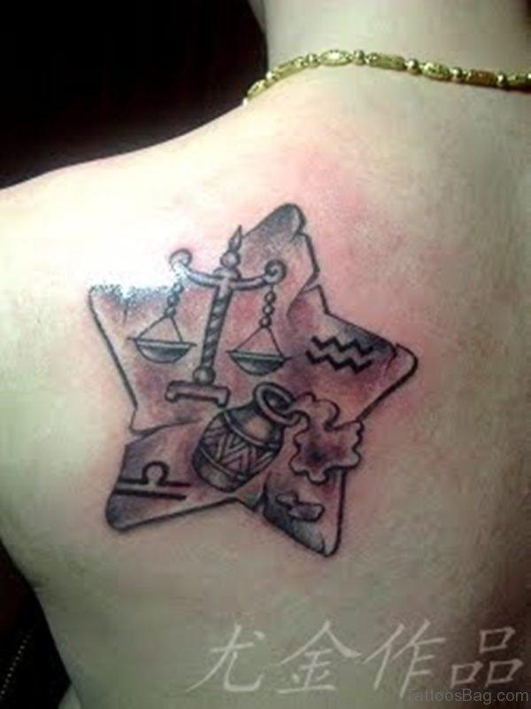 Zodiac Libra Aquarius Star Tattoo