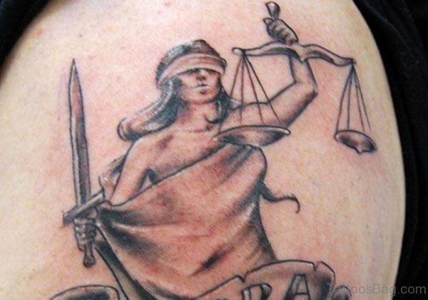 Zodiac Libra Sign Tattoo On Shoulder