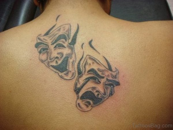 Laugh and Cry Mask Tattoo on Back
