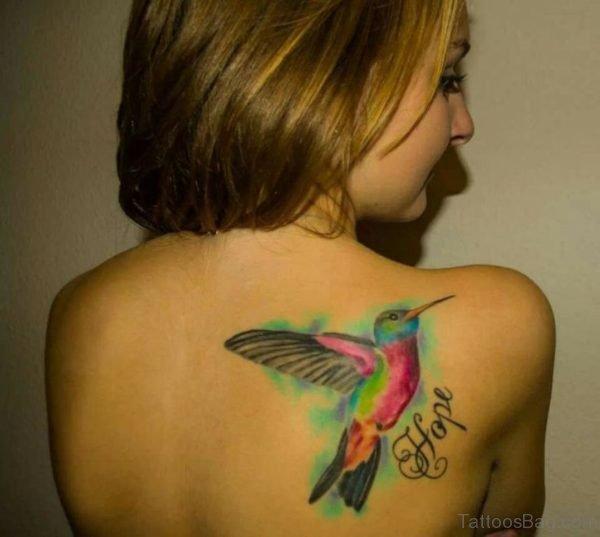 Awesome Hummingbird Tattoo  On Back