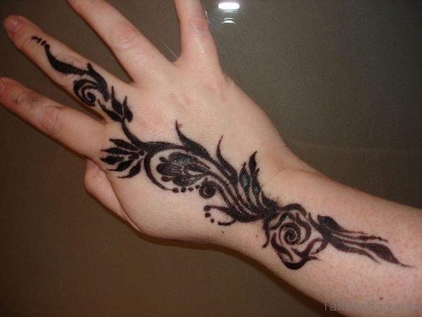 Black Henna Flower Tattoo