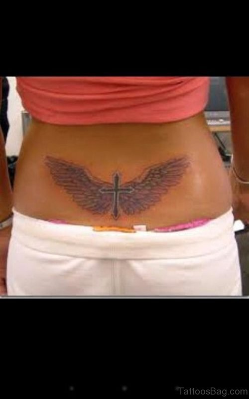 Nice Cross And Wings Tattoo On Lower Back