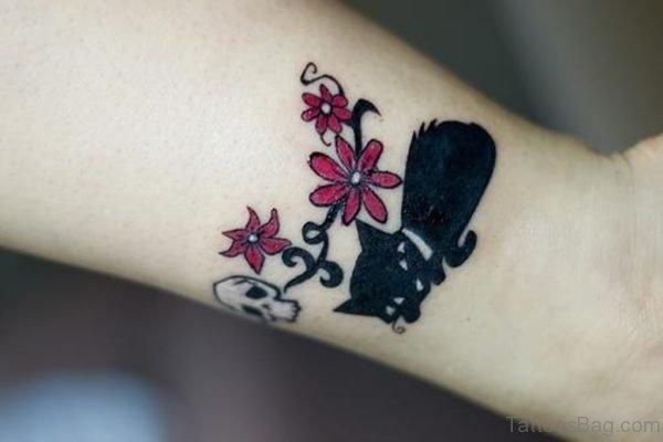Cute  Cat Tattoo On Wrist