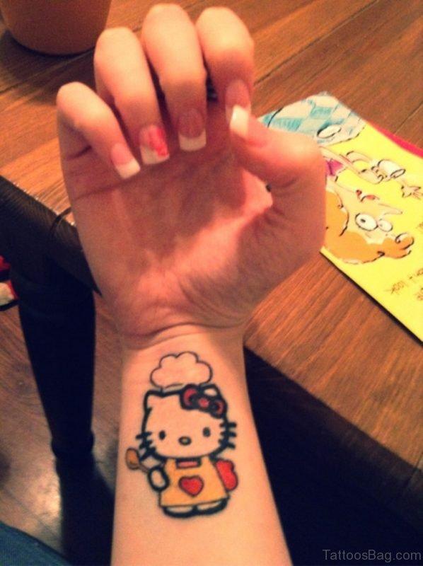 Cute kitty Wrist Tattoo