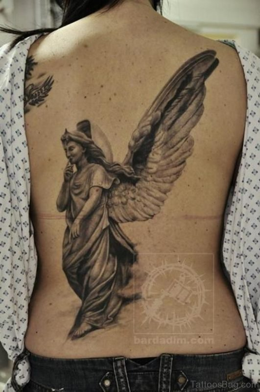 Religious Angel Tattoo On Back