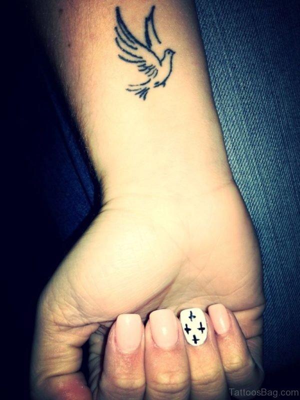 Grey Dove Tattoo On Wrist