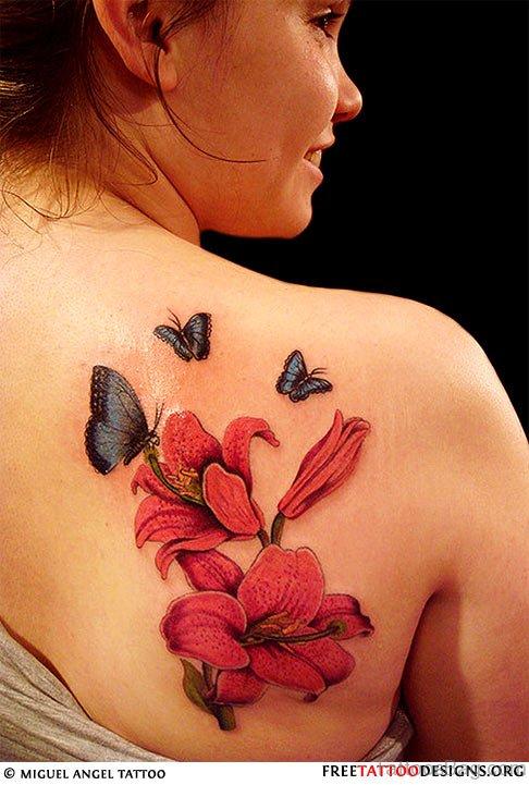 kanji And Cherry Blossom Tattoo  On Woman Back