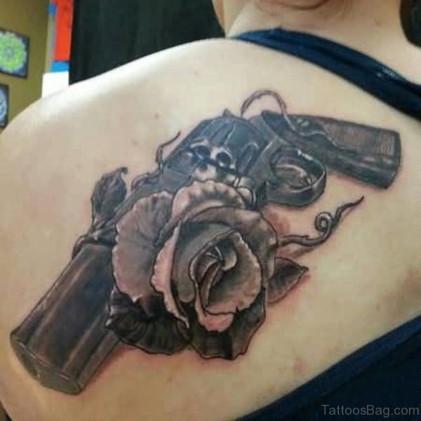 Gun  And  Rose  Tattoo On Back