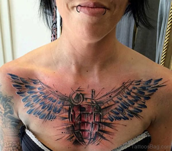 Angel Wings Tattoo Design on Chest