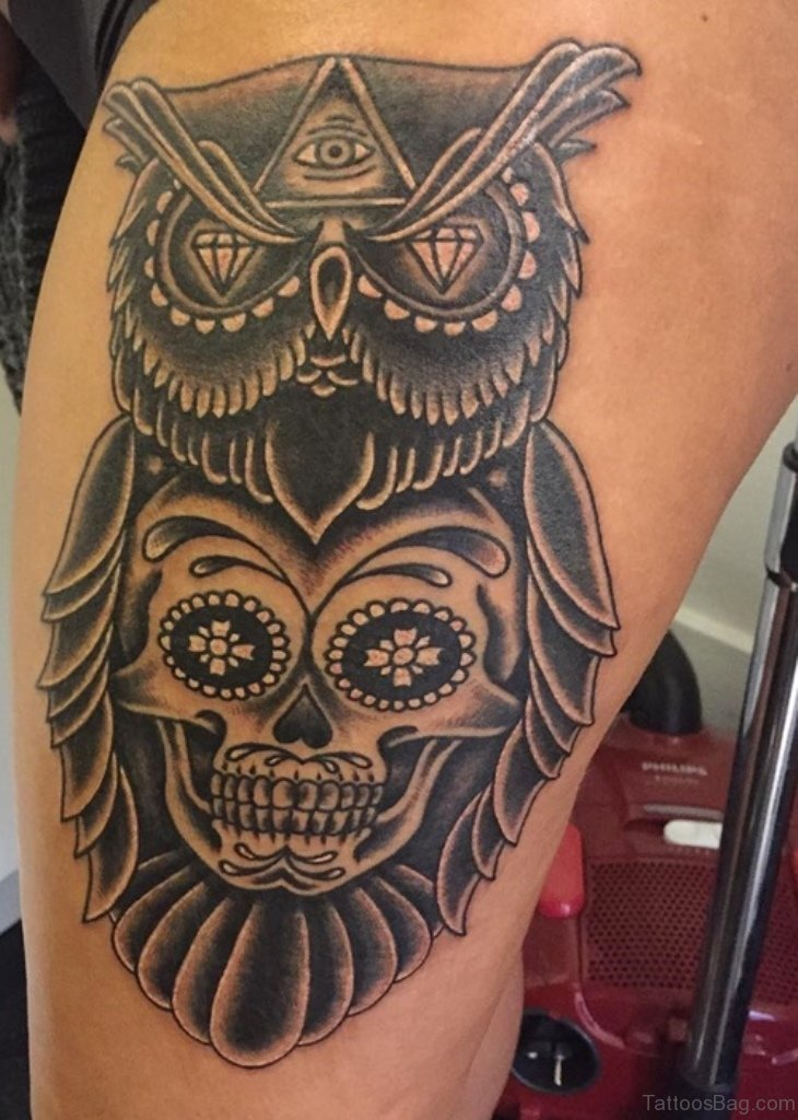 50 lovable owl tattoo on thigh for Owl and sugar skull tattoo