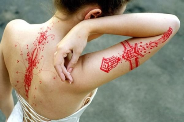 Red Geometric Tattoo
