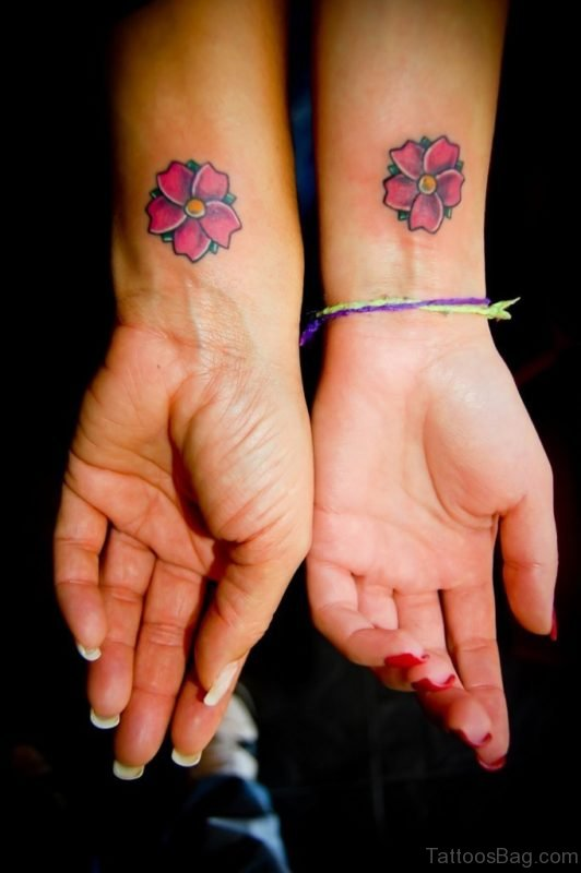 Friendship Flower Tattoo On Wrist